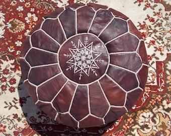 Handmade Moroccan Pouf, Genuine Leather Ottoman, Dark Tan Color (Unstuffed)