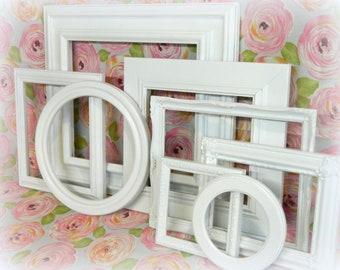 Picture Frame Set, White Shabby Chic Frames, Farmhouse Decor Vintage  Frames, Gallery Wall, Open White Frames
