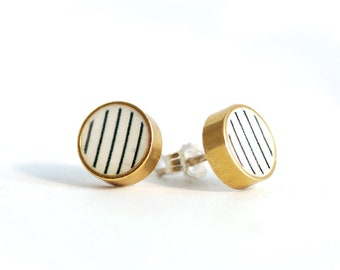 Black and White stripe Brass Circle Stud earrings