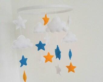 Cloud and stars nursery mobile