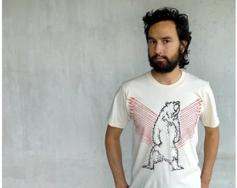 Ursa Major - mens tshirt - grizzly bear print with orange arrows on natural organic cotton t shirts - gift for him - S/M/L/XL