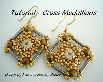 Bugle Bead Tutorial, Seed Bead Pattern, Earring Tutorial, Seed Bead Tutorial, Cross Medallions, Tutorial, How to make earrings,
