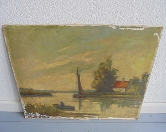 Vintage oil paintings on canvas and painted on wood panel/antique painting of old Dutch scene