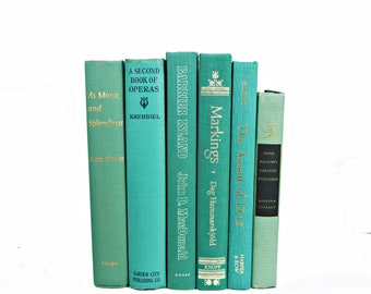 Ocean Sea Green Decorative Books, Teal Turquoise Book Set, Antique Aqua BOok Decor, Wedding Decor, Old BOok collection, HOme Decor