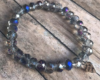 Clear beaded purple and blue tinted bracelet