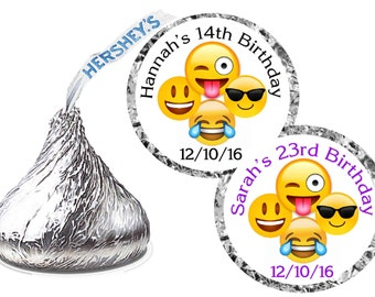 216 ~ EMOJI Birthday Party Hershey Kiss Kisses stickers Labels ~ FREE SHIPPING