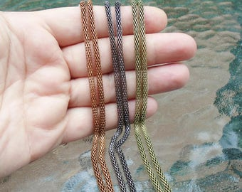 Antique Copper or Bronze 3mm Mesh Necklace in all sizes--BUY 4 GET 1 FREE--Hollow Snake Chain Necklaces fit European Charms and Beads