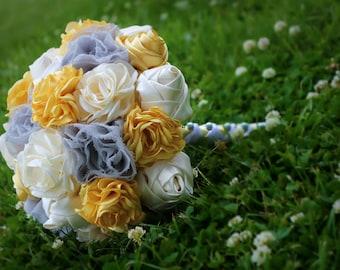 """CUSTOM Wedding Bouquet: yellow, gray, cream- handmade fabric flowers, fake flower bouquet, """"silk"""" flower bouqet, satin"""