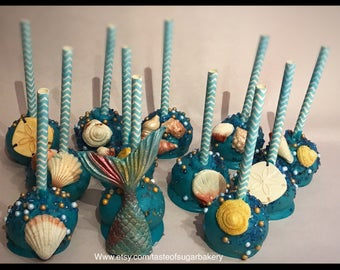 12 under the sea cake pops-mermaid cake pops- ocean cake pops-customizable cake pops-birthday cake pops-baby shower cake pops