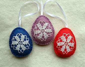 Easter Ornaments, Easter Eggs, Felt Eggs, blue, red & purple