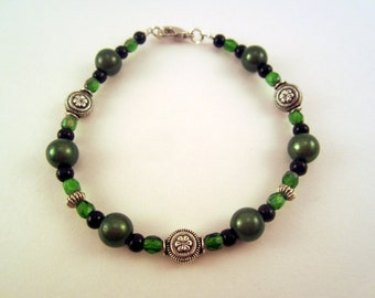 Green Black and Silver Bracelet, St. Patrick's Day Style