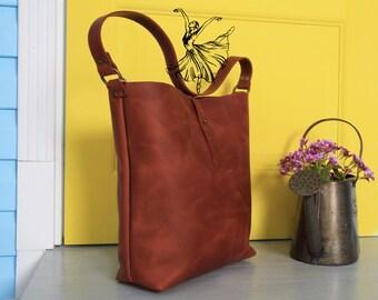Brown leather tote bag,Shoulder tote bag,Shoulder purse leather,Brown tote women,Womens leather bag,Genuine leather purse,Leather bag strap