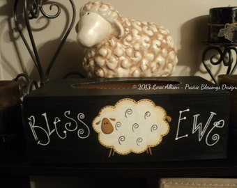Bless Ewe primitive Tissue Box Cover painting pattern packet instant download