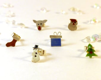 Custom Order for M Rideout ** 2 Christmas Studs Set Stocking & Tree Mismatch Matching Earrings Silver Enamel Quirky UK Handmade Winter