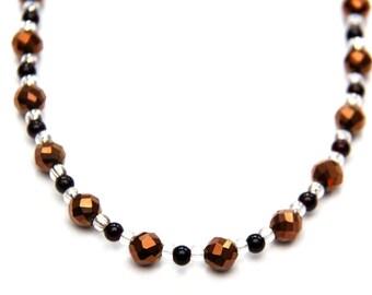 Bronze Iris & Red Glass Necklace, Jewelry for Women