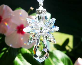 Guardian Angel Car Charm, Swarovski Crystal Angel Suncatcher, Rear View Mirror Car Accessories