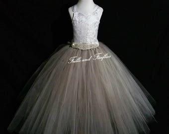 Grey and Ivory Flower Girl Dress / Corset Bridesmaid Dress / Prom Dress / Girls Dresses / Flower Girl Gift / Princess Dress / Formal Dress