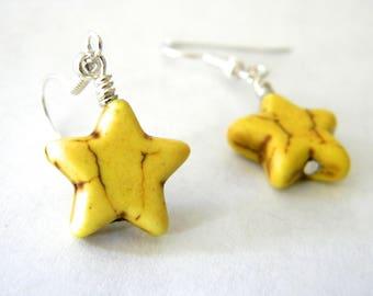 Yellow Star Dangle Earrings Stone Earrings 15mm
