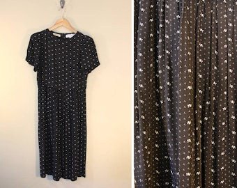 Women's Vintage 80's Size 6 Little Black Dress / Tiny Floral Pattern / AnnTaylor / Fitted Bodice Pleated Skirt / Medium / Simple Silhouette