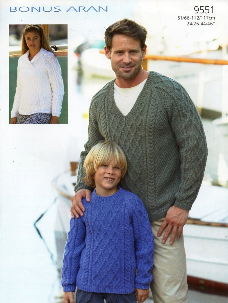 womens / mens / childrens aran sweater knitting pattern pdf
