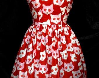 Lovestruck Cats Dress (size UK 14)