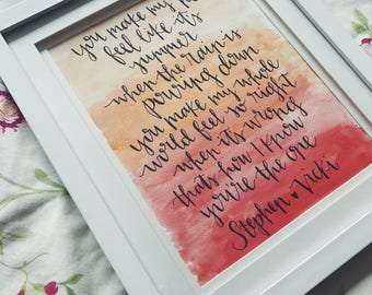 Hand Lettered Watercolour Prints - 8x10