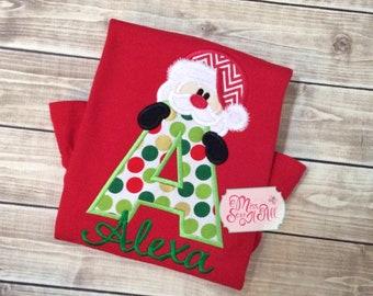 Girls Santa Shirt, Custom Santa Shirt, Girls Christmas Shirt, Christmas Santa Shirt