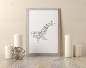 """Affiche """"baleine"""" à imprimer - A3 A4 A5 - affiche noir et blanc, scandinave, géométrique, animal print, imprimable, affiche minimaliste"""