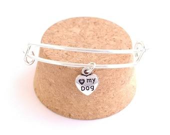 Love my dog heart charm bangle bracelet