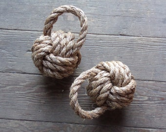 2 Handknotted Monkey Fist Bookends Perfect for Rustic Nautical Beach or Country Decor