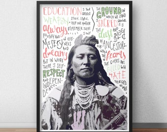 Chief Plenty Coups quote print / poster hand drawn type / typography