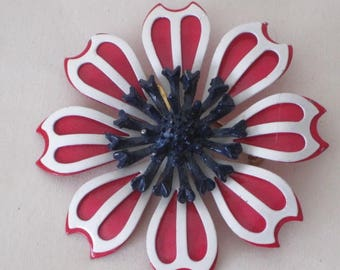 vintage Red and White Flower Brooch with Cobalt Blue Center