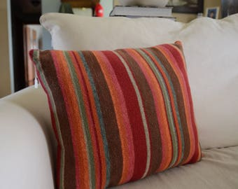 Bright Fall Striped Pillow