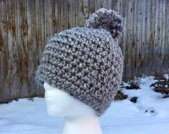 Chunky Gray Tweed Hat with Pom Pom / Womens Teen / Soft / Handmade Crochet / Grey Silver Beanie / Fall Winter / Warm / gifts for her /ski