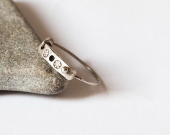 Tiny silver boho ring, sterling silver ring, minimalist silver ring, wire wrapped silver ring, simple ring, steampunk, Boho style, rustic