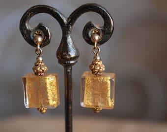Venetian glass, gold earrings
