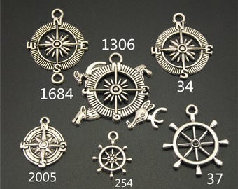 20PCS, Compass Charm, Rudder Charms, Antique Silver, Vintage Charms, Jewelry Accessories, Craft Supplies