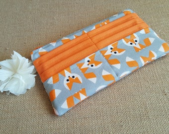 Women's Wallet / Orange Fox Wallet / Fabric Wallet / Long Wallet