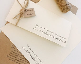 Rustic/Vintage 50 x DIY 'Annabelle' Wedding Invitation pack-FREE courier postage