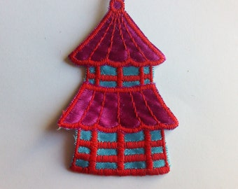 Blue and Purple Tower Collectible Retro Authentic 1970's New Vintage Patch Applique