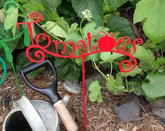 garden marker, tomato, garden decor, garden tomato, garden sign stake, vegetable, garden sign, garden stake, tomato sign, tomato metal sign