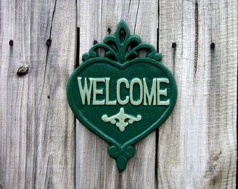 Welcome Plaque, Cast Iron, Painted, Green, Welcome Sign, Door Welcome Sign, Heart Plaque, Ornate Welcome Plaque, Indoor, Outdoor, Welcome
