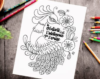 Instant download - 8.5 x 11 - poster black and white - print color - Peacock and flowers - quote