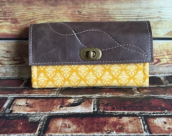 MADE TO ORDER Mom Wallet in Mustard w/ Genuine Leather Flap