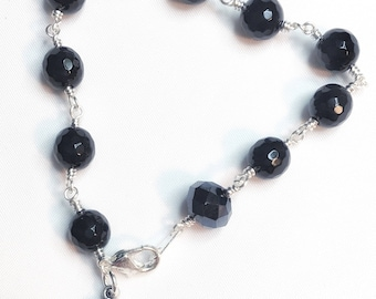 Black Faceted Onyx One Decade Rosary Bracelet, Hand Wrapped Womans Catholic Rosary Bracelet
