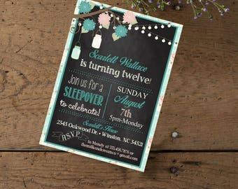 Birthday Invitation Shabby Chic Floral Girls Sleepover Mason Jar String Lights Teal Pink Rustic Chalkboaord Printed or Printable File,