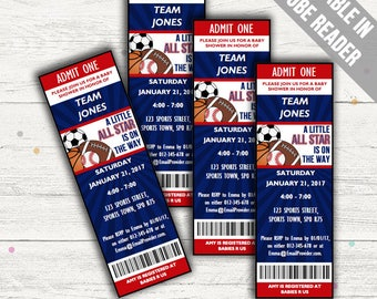 All Star Sports Baby Shower Invitations. Editable. Printable. Instant Download.