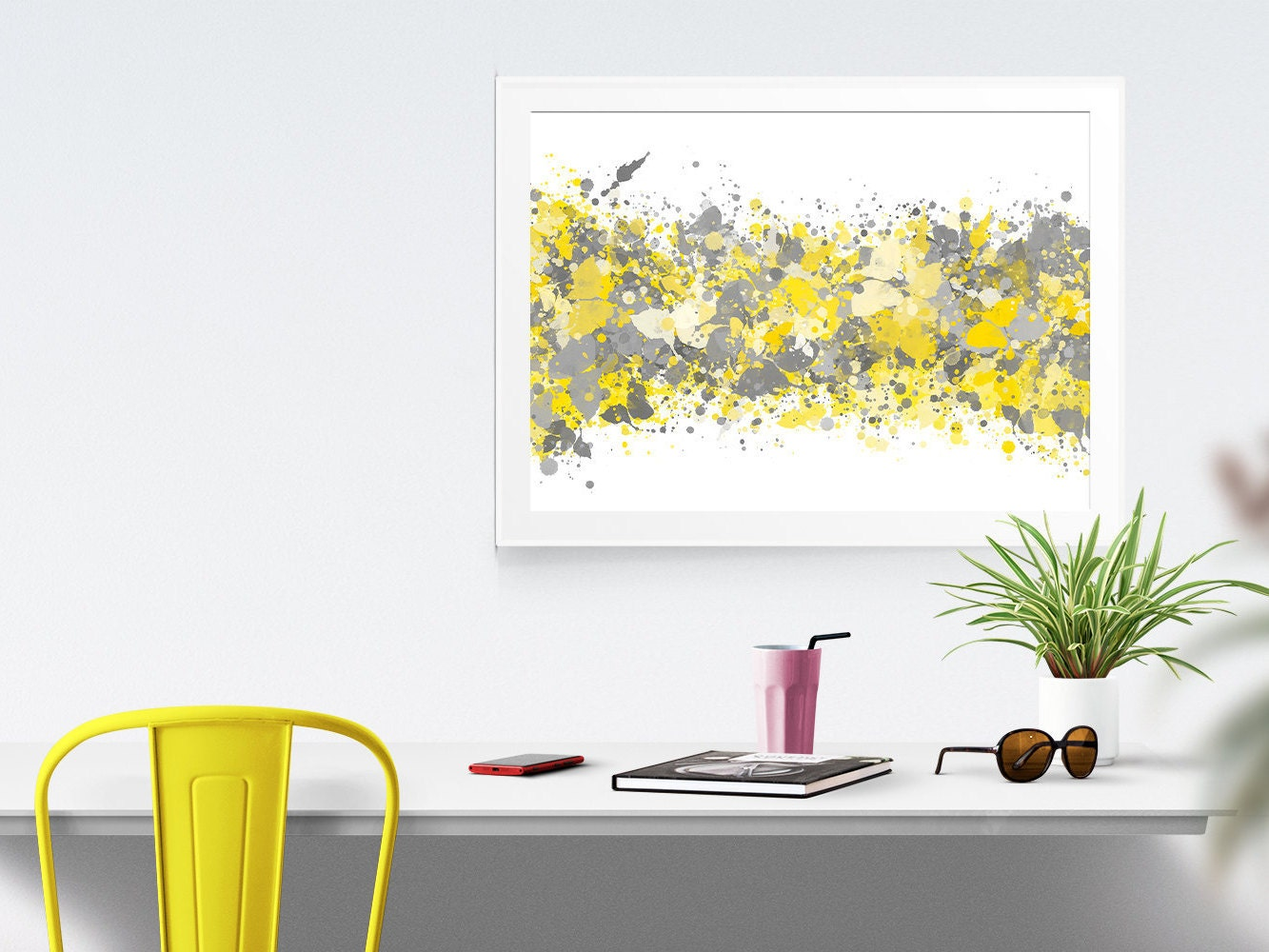 Yellow Wall Art Grey Yellow Abstract Watercolor Print Office Decor Gray Grey