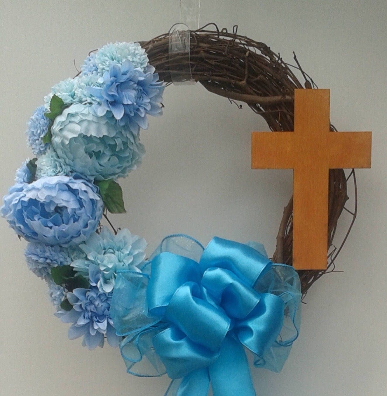 Religious wreath cross wreath easter wreath blue flower wreath zoom izmirmasajfo