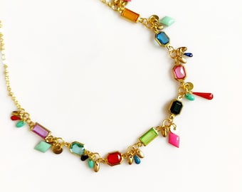 Beaded Choker Necklace,  Short Everyday Necklace, Colorful Beaded Statement Necklace for Her